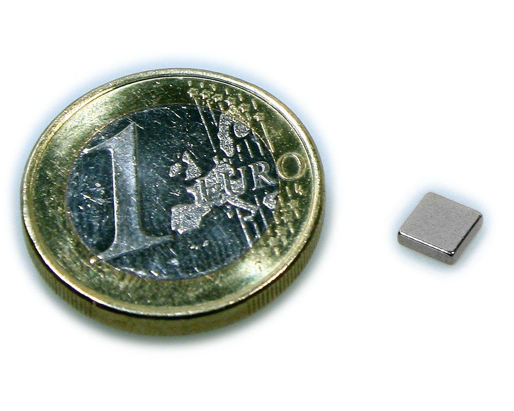 Quadermagnet 5,0 x 5,0 x 1,2 mm Neodym N50 vernickelt - hält 400 g