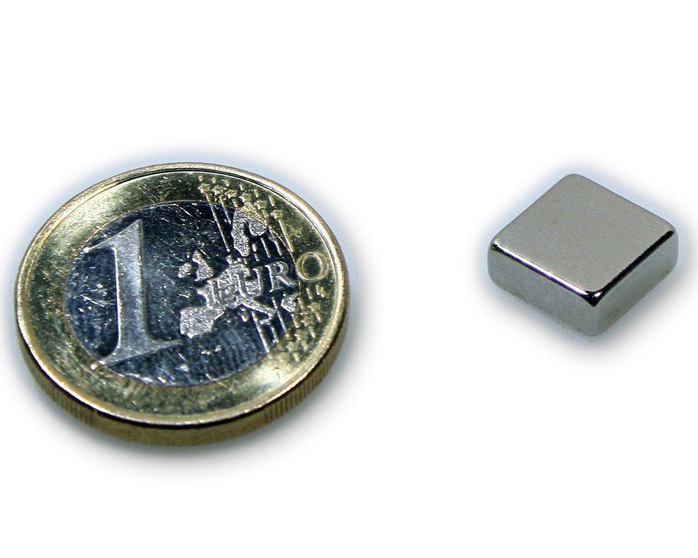 Quadermagnet 10,0 x 10,0 x 4,0 mm Neodym N45 vernickelt - hält 2,5 kg