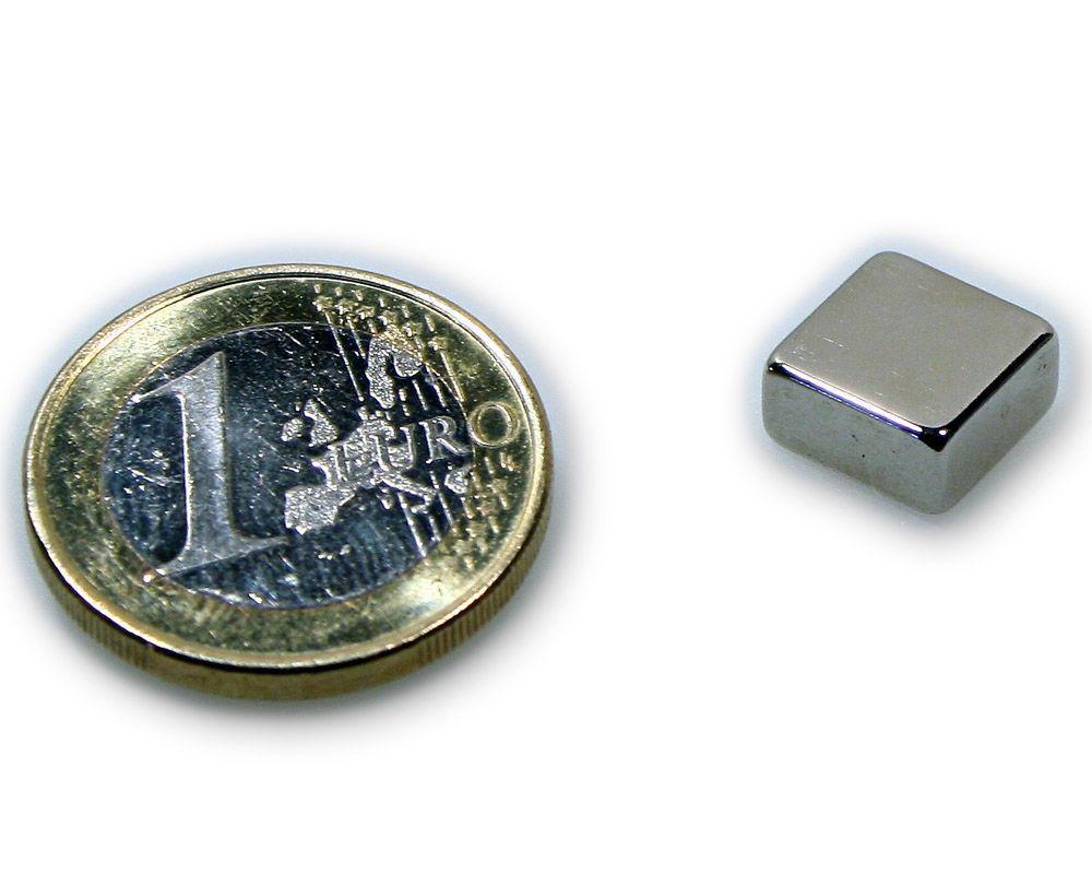 Quadermagnet 10,0 x 10,0 x 5,0 mm Neodym N45 vernickelt - hält 3,2 kg