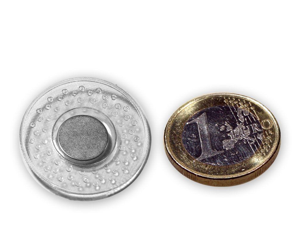 Scheibenmagnet Ø 12,0 x 2,0 mm / zum Einnähen in runder PVC Hülle, hält 1,2 kg