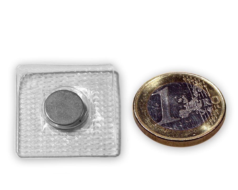 Scheibenmagnet Ø 12,0 x 2,0 mm / zum Einnähen in quadratischer PVC Hülle, 1,2kg