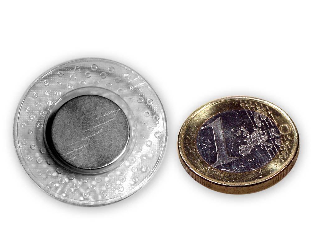 Scheibenmagnet Ø 18,0 x 2,0 mm / zum Einnähen in runder PVC Hülle, 2,0 kg