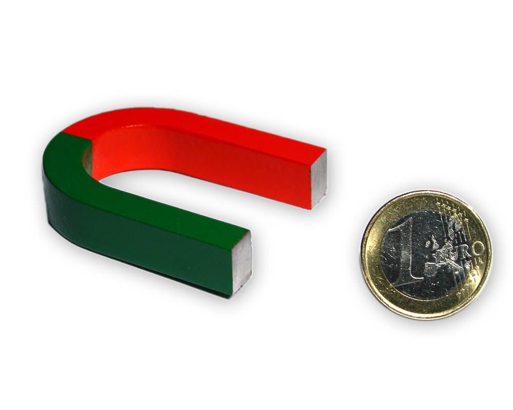 Hufeisenmagnet 80 x 60 x 16 mm - rot/grün - AlNiCo