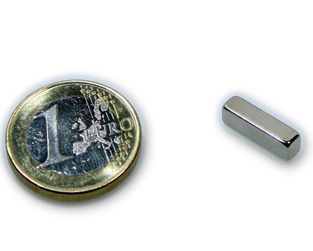 Quadermagnet 15,0 x 4,0 x 4,0 mm Neodym N45 vernickelt - hält 1,7 kg