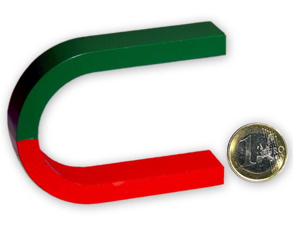 Hufeisenmagnet 100 x 63 x 18 mm - rot/grün - AlNiCo
