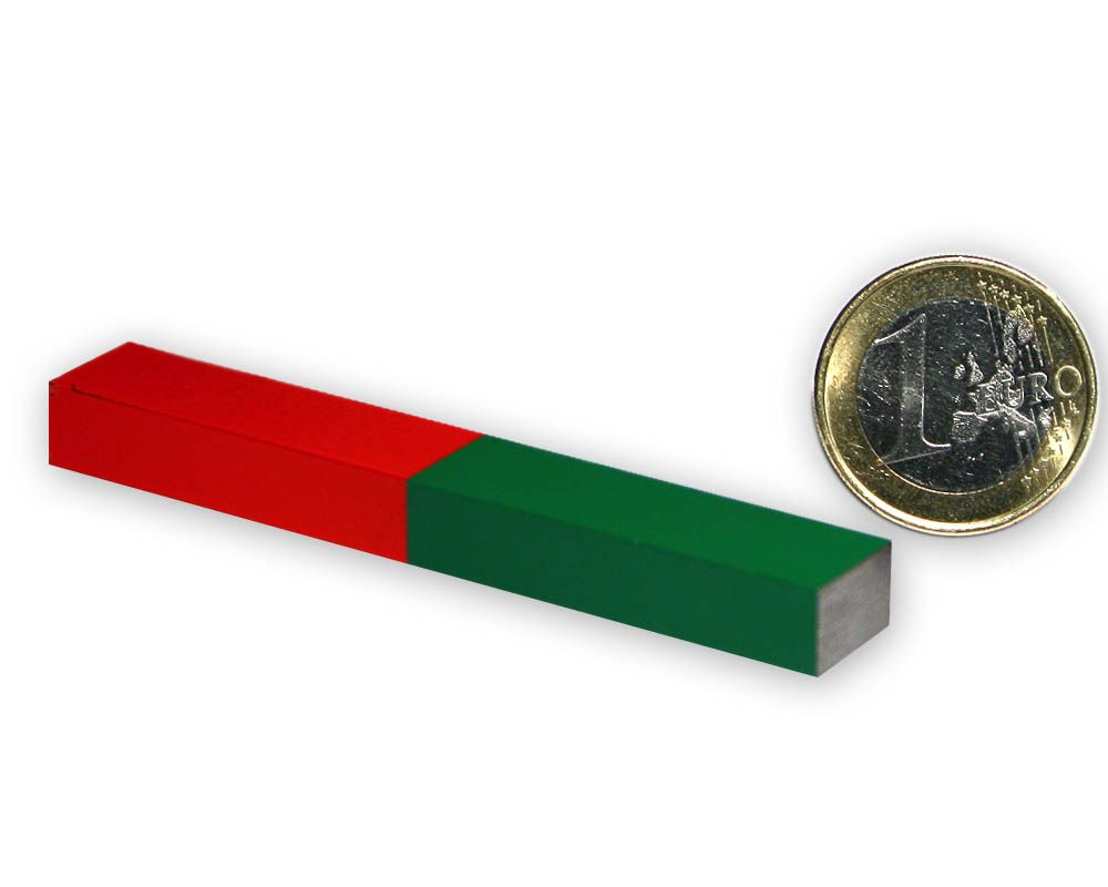 Quader Stabmagnet 100 x 15 x 10 mm - rot/grün - AlNiCo