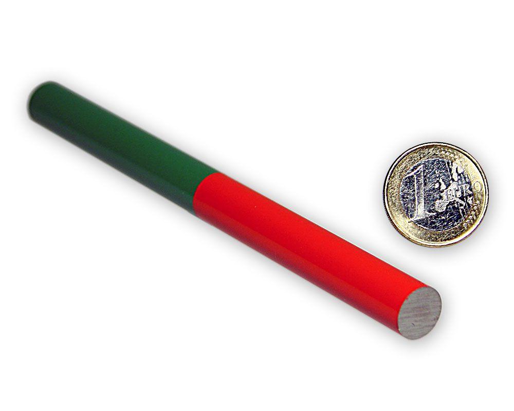 Stabmagnet Ø 12,0 x 150,0 mm - rot/grün - AlNiCo