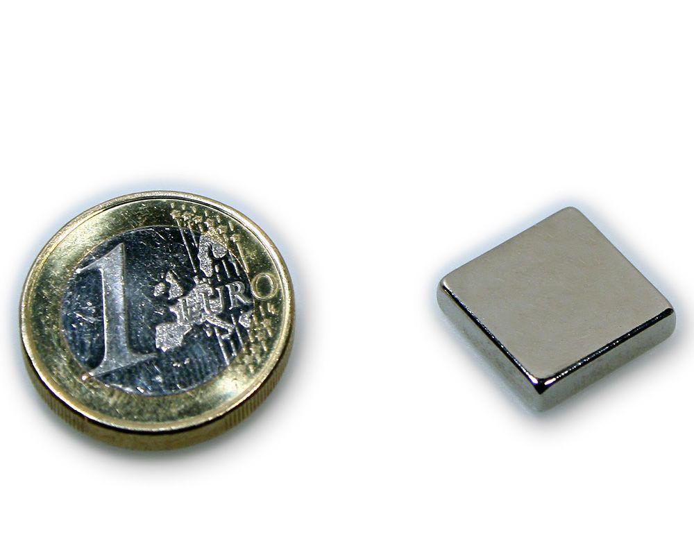 Quadermagnet 15,0 x 15,0 x 3,0 mm Neodym N45 vernickelt - hält 3,4 kg
