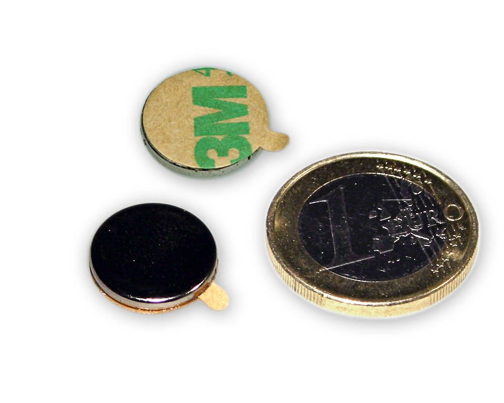 Scheibenmagnet selbstklebend Ø 15,0 x 2,0 mm Neodym N35 - hält 1,8 kg
