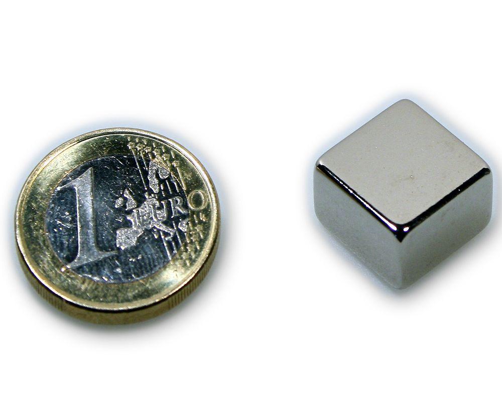 Quadermagnet 15,0 x 15,0 x 8,0 mm Neodym N45 vernickelt - hält 7,9 kg