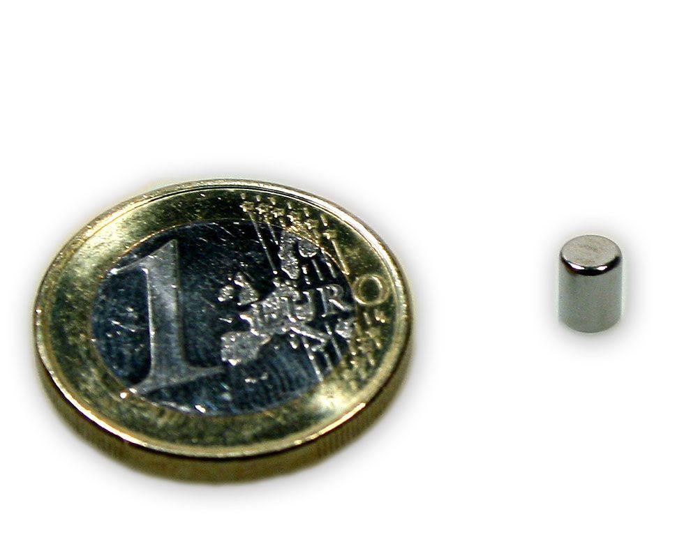 Stabmagnet Ø 4,0 x 5,0 mm Neodym N48 vernickelt - hält 600 g