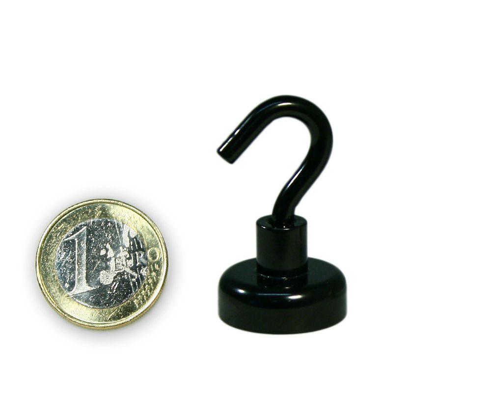 Hakenmagnet Ø 20 mm mit Neodym - schwarz - hält 10,5 kg