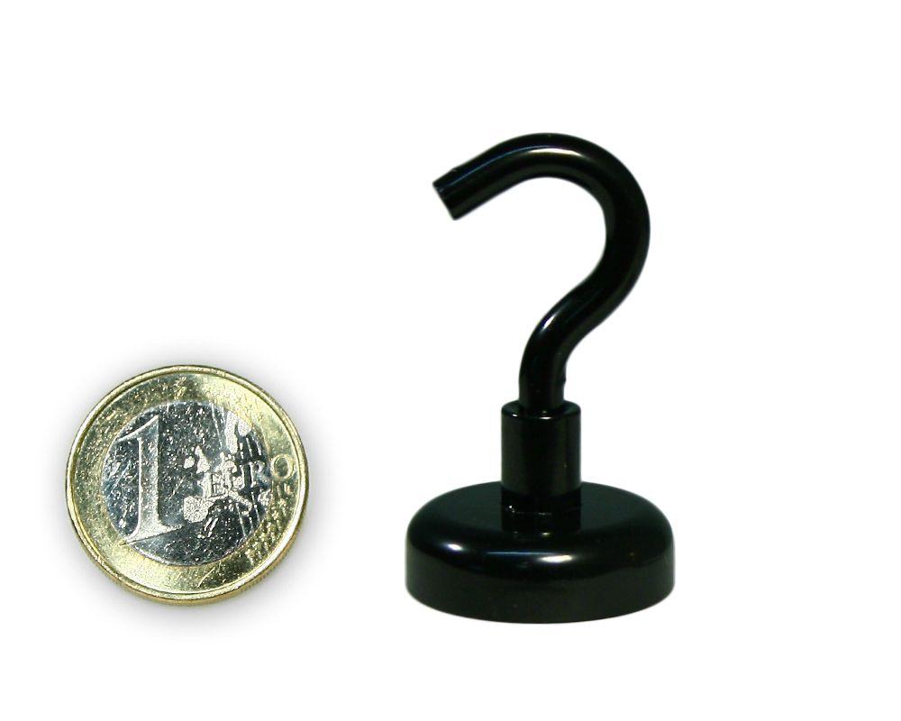 Hakenmagnet Ø 25 mm mit Neodym - schwarz - hält 23 kg