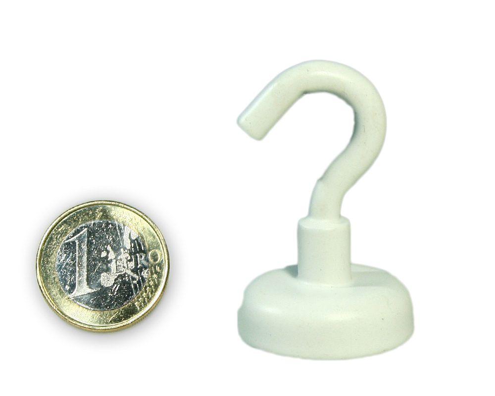 Hakenmagnet Ø 25 mm mit Neodym - weiss - hält 23 kg