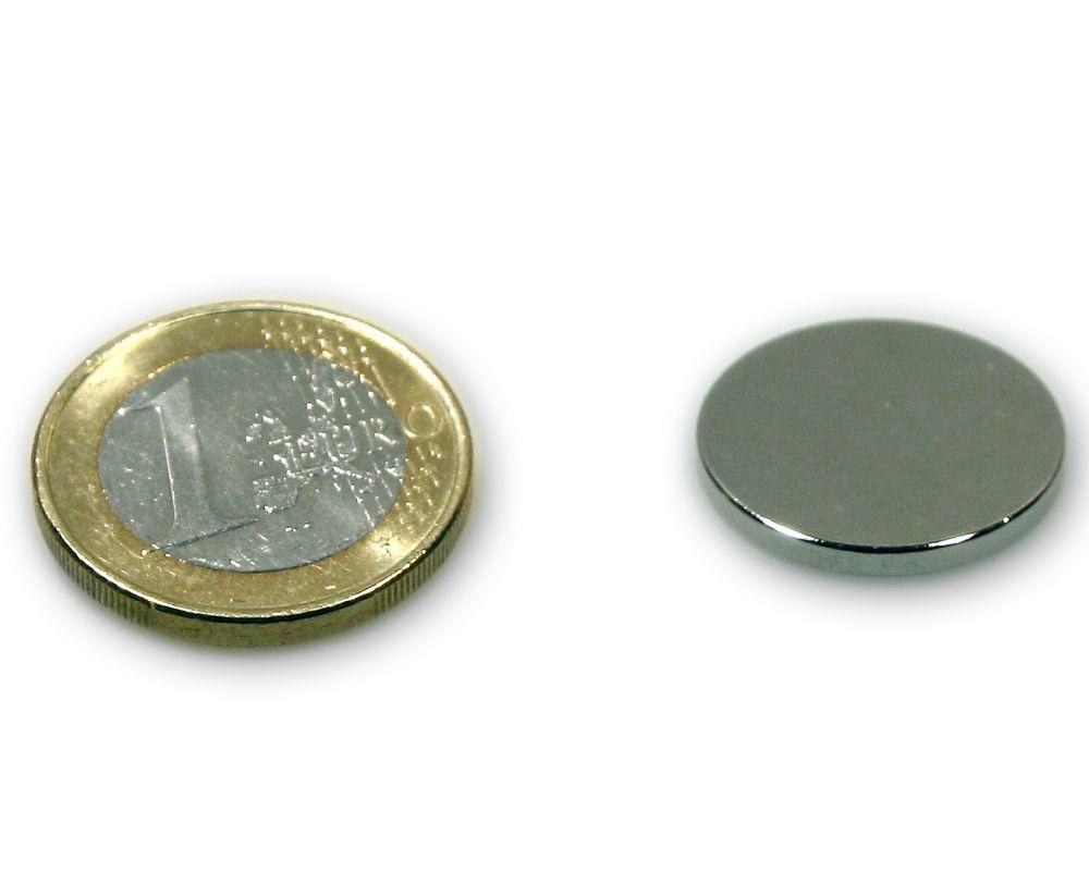 Scheibenmagnet Ø 20,0 x 1,5 mm Neodym N45 vernickelt - hält 2,2 kg