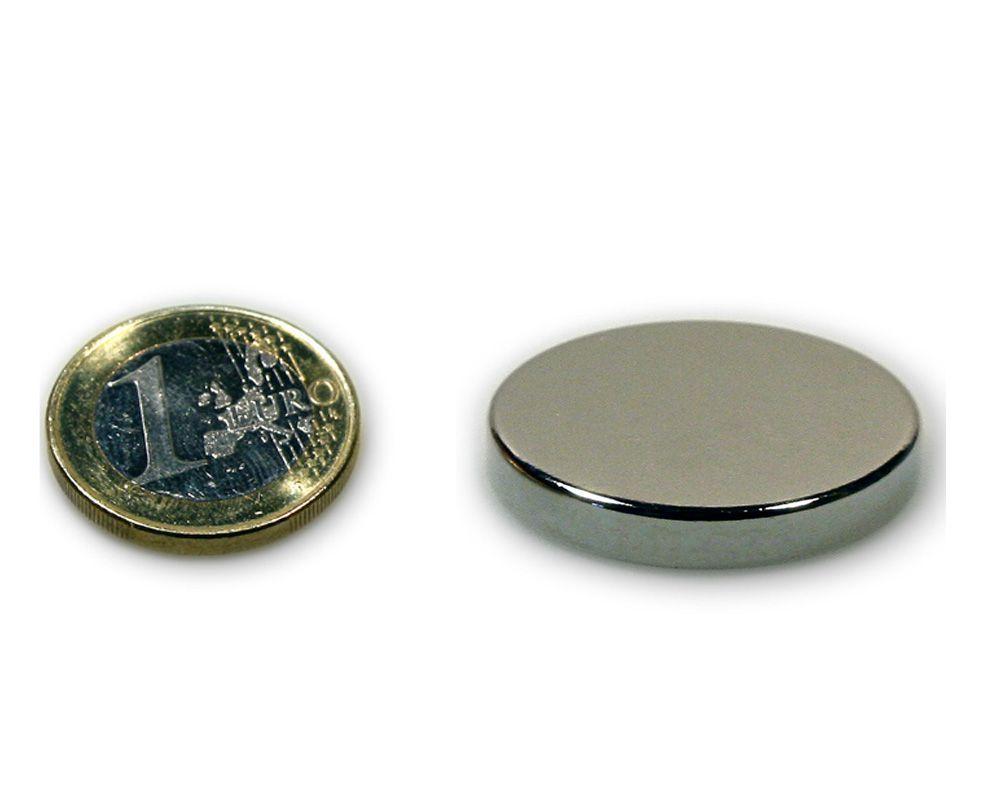 Scheibenmagnet Ø 35,0 x 5,0 mm Neodym N45 vernickelt - hält 13,0 kg