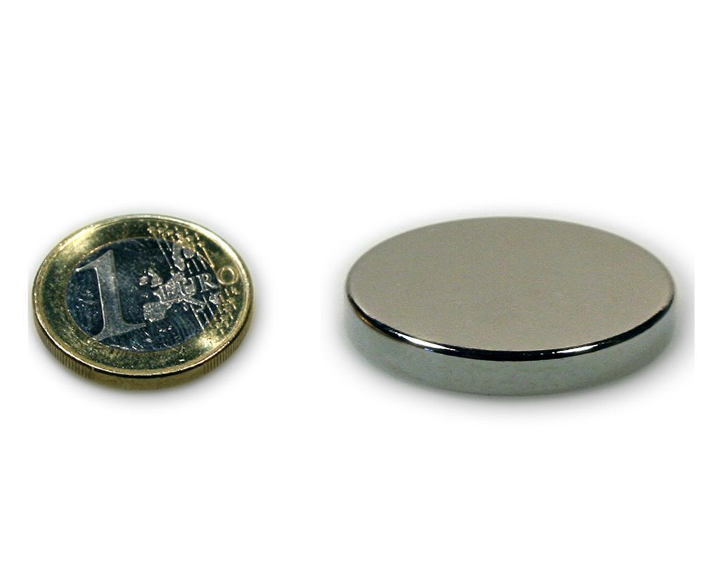 Scheibenmagnet Ø 40,0 x 5,0 mm Neodym N45 vernickelt - hält 14,5 kg