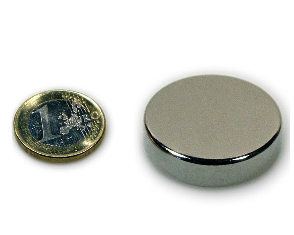 Scheibenmagnet Ø 40,0 x 10,0 mm Neodym N45 vernickelt - hält 26,0 kg