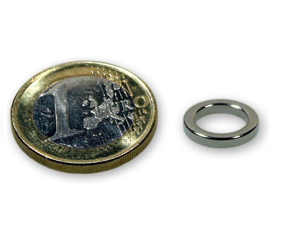 Ringmagnet Ø 12,0 x 7,0 x 3,0 mm Neodym N45 vernickelt - hält 1,8 kg
