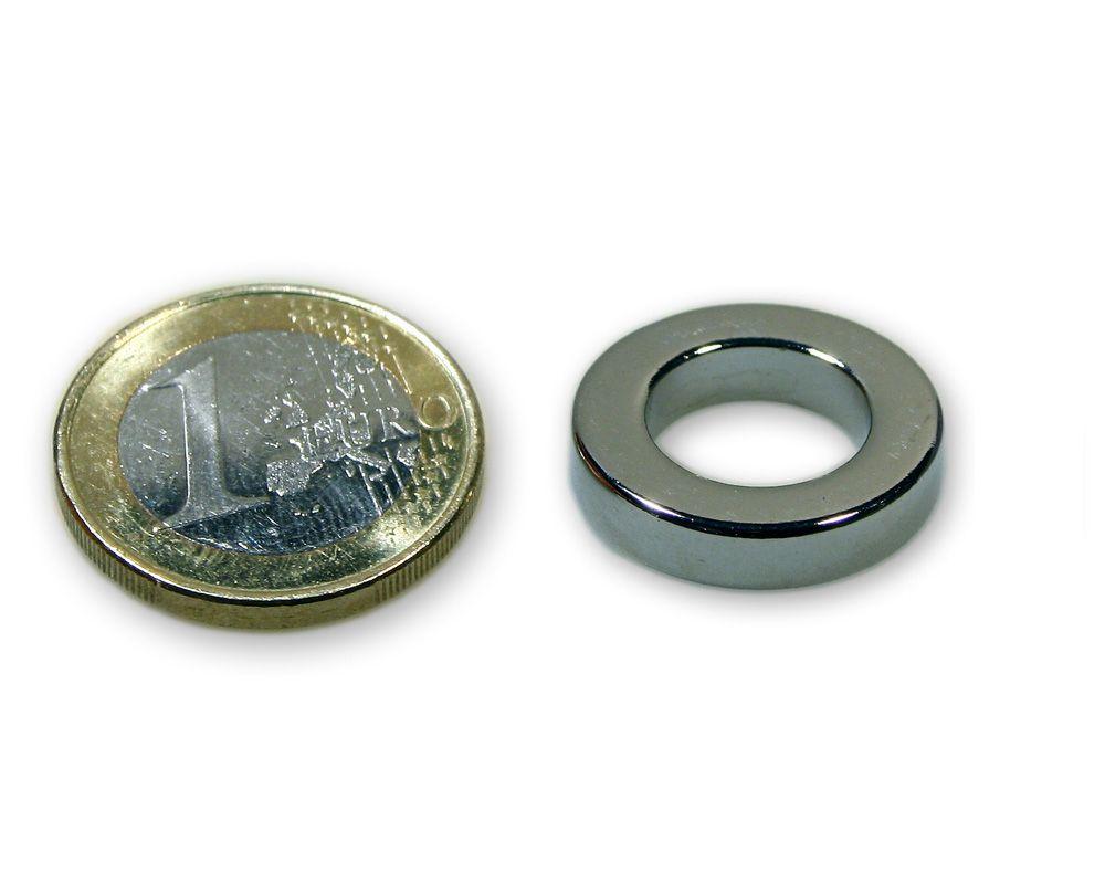 Ringmagnet Ø 19,0 x 9,0 x 6,0 mm Neodym N45 vernickelt - hält 7,5 kg