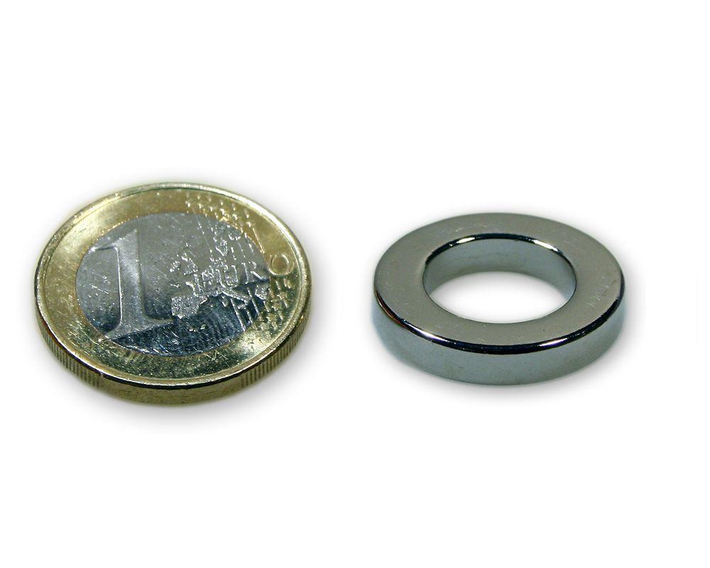 Ringmagnet Ø 20,0 x 10,0 x 6,0 mm Neodym N45 vernickelt - hält 8,5 kg