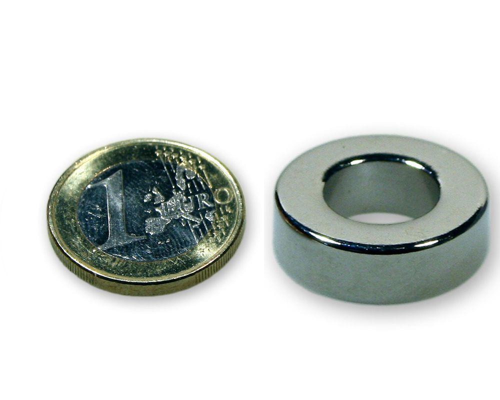 Ringmagnet Ø 26,0 x 12,0 x 9,0 mm Neodym N45 vernickelt - hält 16,1 kg
