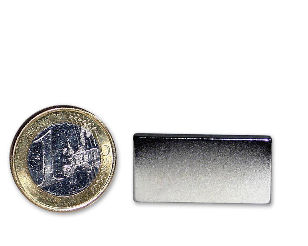 Quadermagnet 25,0 x 15,0 x 4,0 mm Neodym N45 vernickelt - hält 6,8 kg