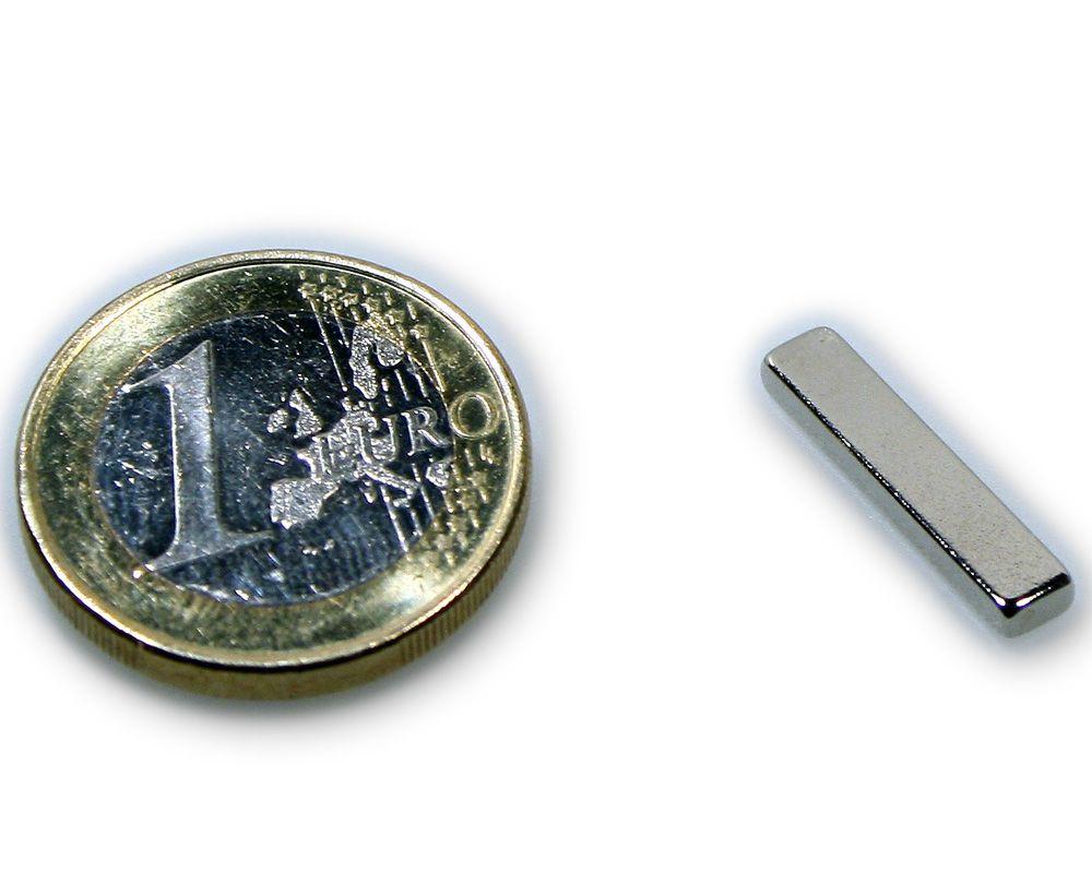 Quadermagnet 20,0 x 4,0 x 2,0 mm Neodym N45 vernickelt - hält 1,1 kg