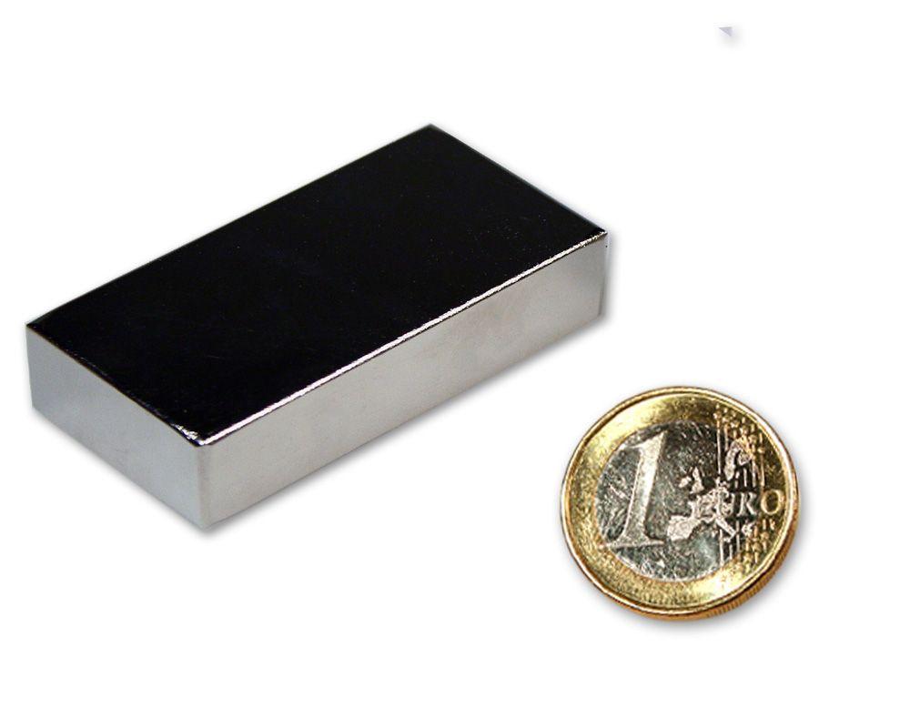 Quadermagnet 50,0 x 25,0 x 10,0 mm Neodym N52 vernickelt - hält 34 kg