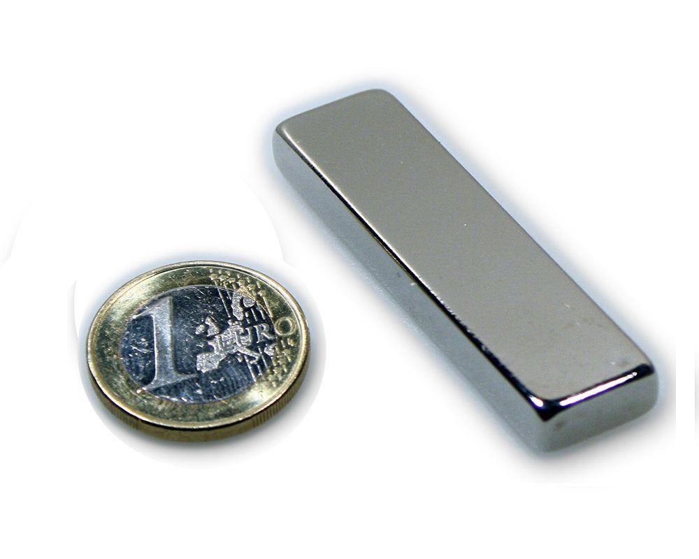 Quadermagnet 60,0 x 15,0 x 5,0 mm Neodym N45 vernickelt - hält 13,2 kg