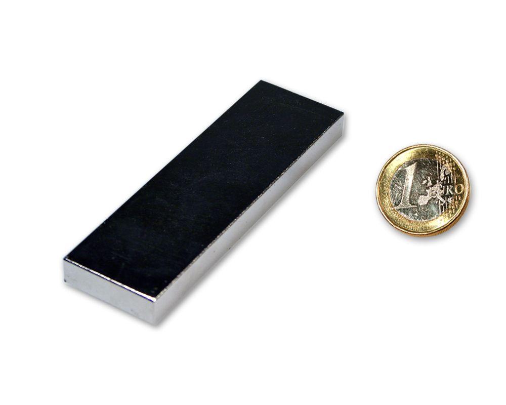 Quadermagnet 70,0 x 30,0 x 10,0 mm Neodym N52 vernickelt - hält 40 kg