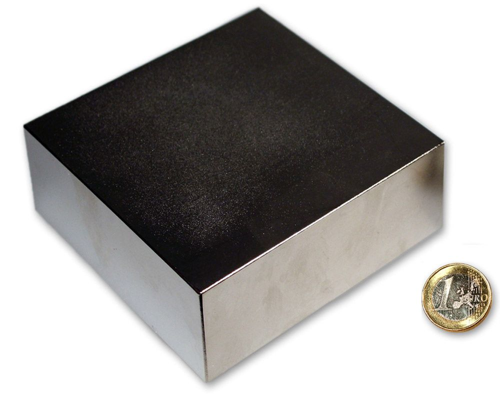 Quadermagnet 100,0 x 100,0 x 50,0 mm Neodym N52 vernickelt - hält 1.300 kg