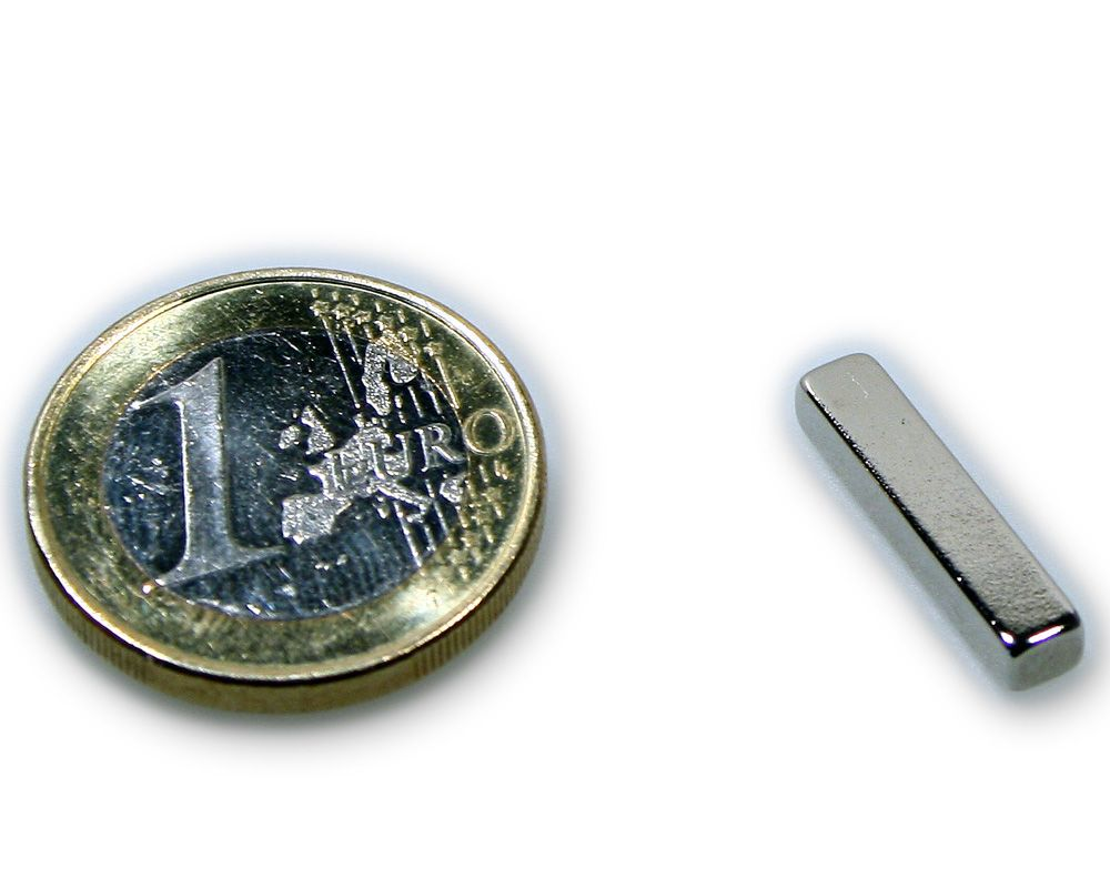 Quadermagnet 20,0 x 4,0 x 3,0 mm Neodym N45 vernickelt - hält 1,7 kg