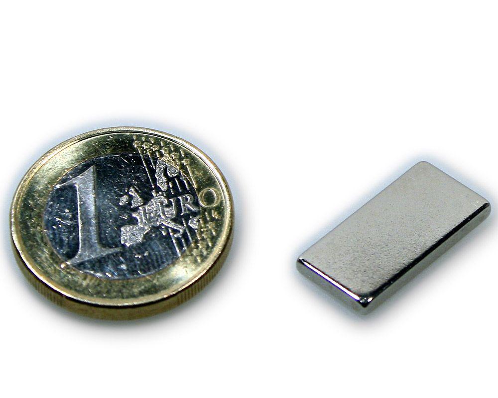 Quadermagnet 20,0 x 10,0 x 2,0 mm Neodym N45 vernickelt - hält 2,1 kg