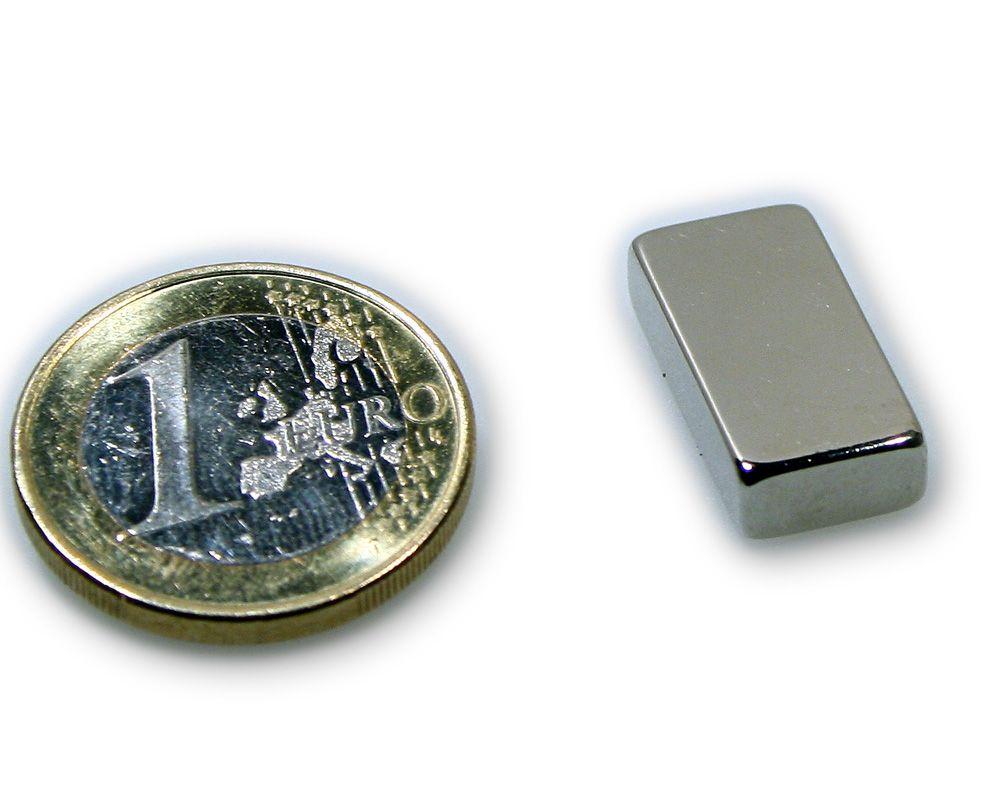 Quadermagnet 20,0 x 10,0 x 5,0 mm Neodym N45 vernickelt - hält 4,1 kg