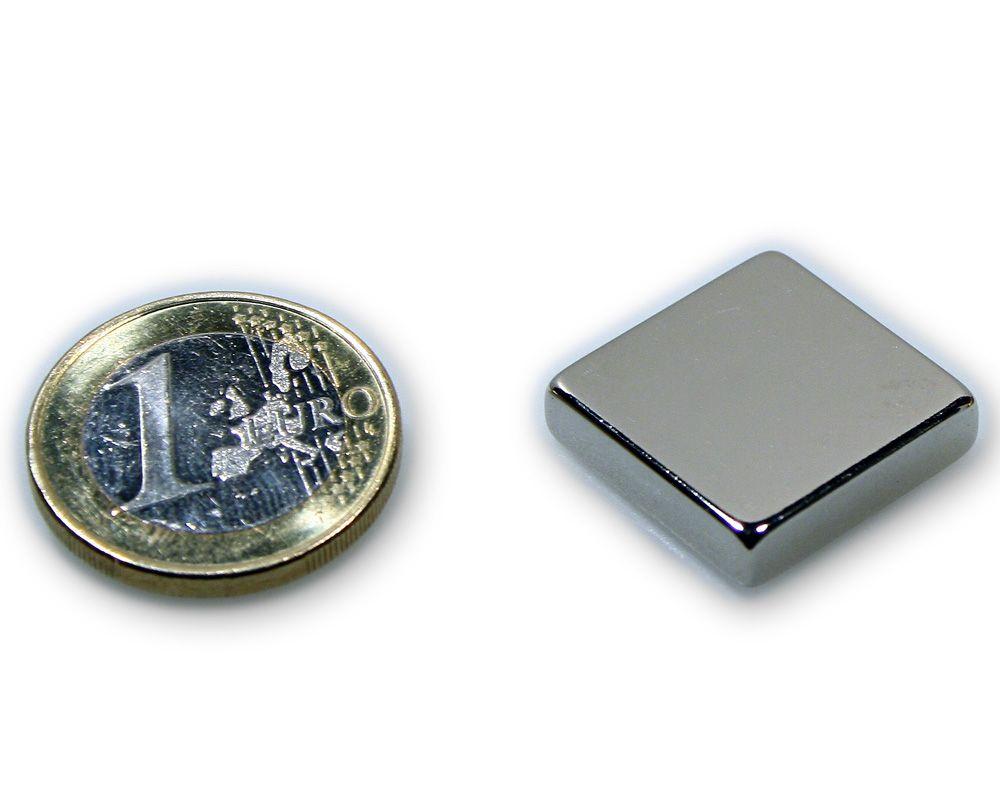 Quadermagnet 20,0 x 20,0 x 5,0 mm Neodym N45 vernickelt - hält 6,0 kg