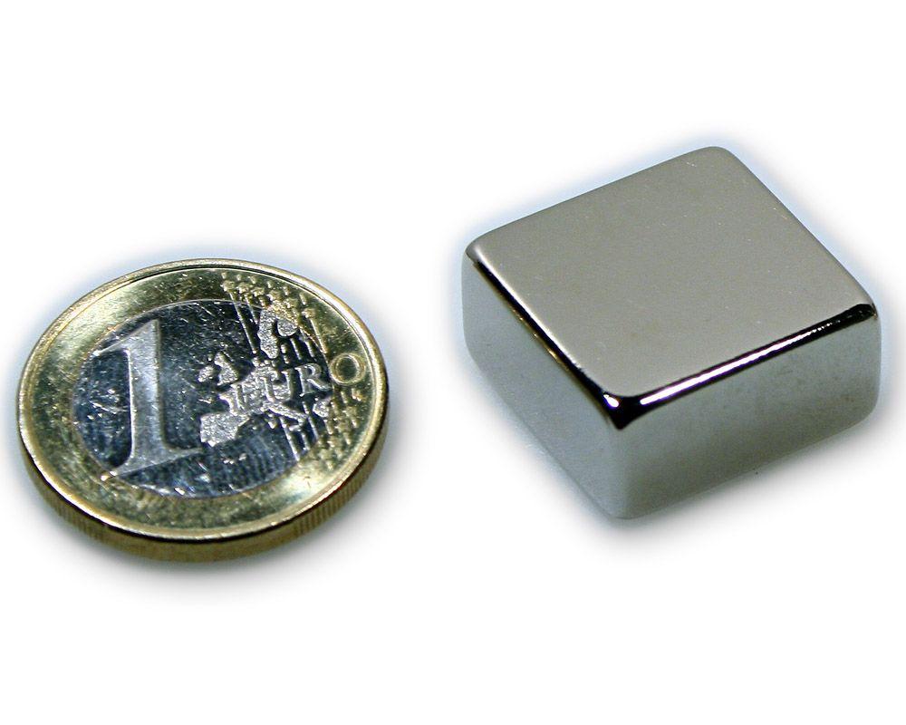 Quadermagnet 20,0 x 20,0 x 10,0 mm Neodym N45 vernickelt - hält 15,0 kg