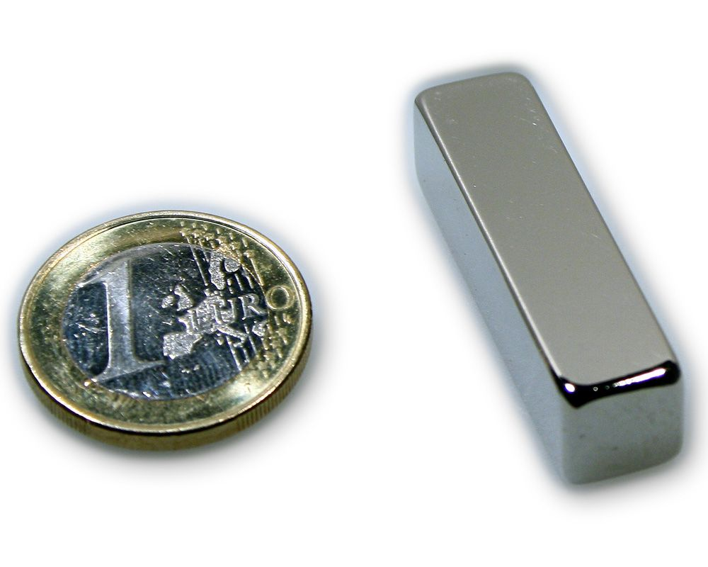 Quadermagnet 40,0 x 10,0 x 10,0 mm Neodym N45 vernickelt - hält 14,0 kg
