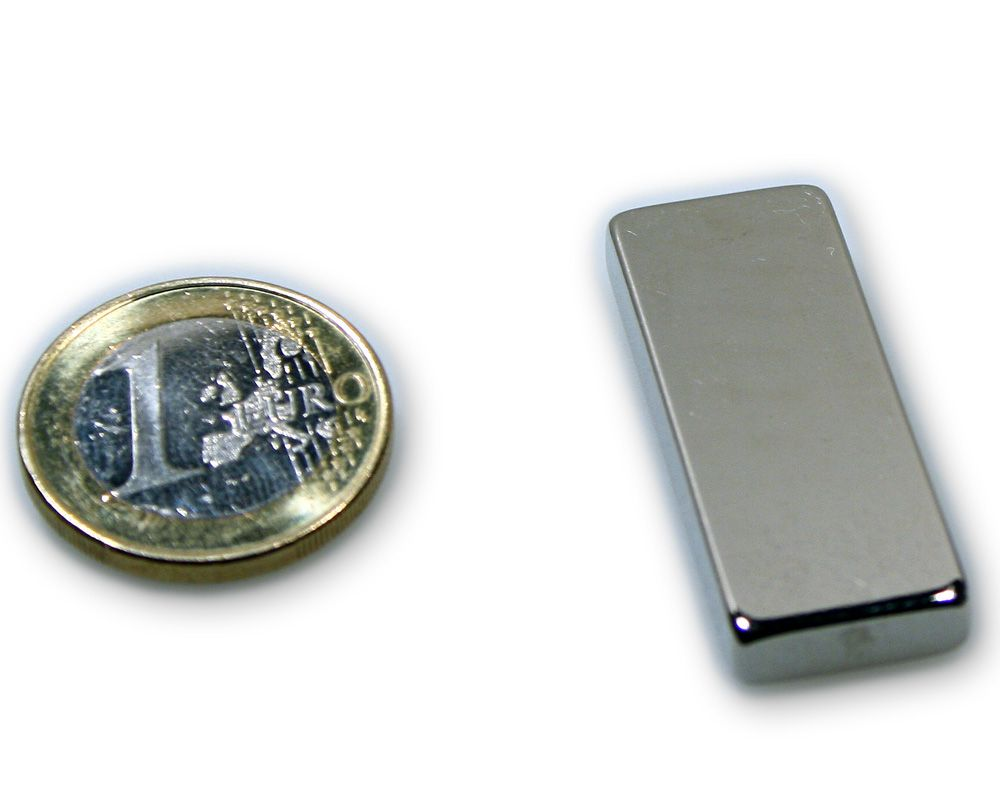Quadermagnet 40,0 x 15,0 x 5,0 mm Neodym N45 vernickelt - hält 10,0 kg