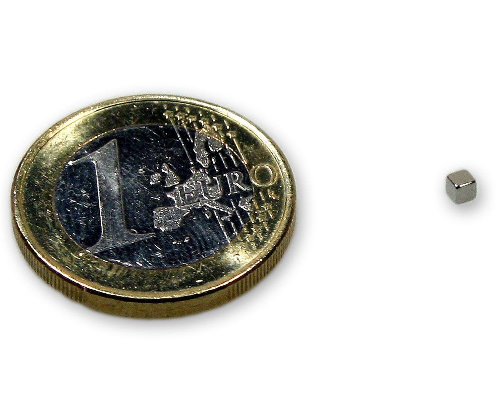 Würfelmagnet 2,0 x 2,0 x 2,0 mm Neodym N45 vernickelt - hält 100 g