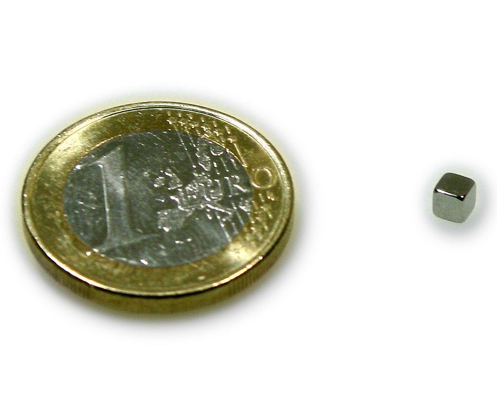 Würfelmagnet 3,0 x 3,0 x 3,0 mm Neodym N45 vernickelt - hält 400 g