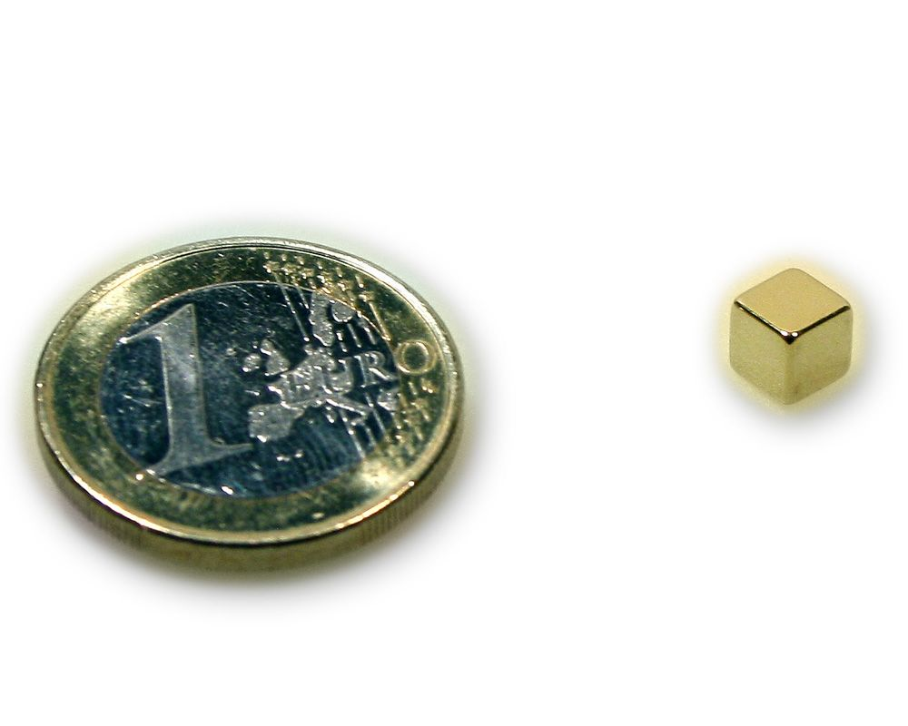 Würfelmagnet 5,0 x 5,0 x 5,0 mm Neodym N45 vergoldet - hält 1,6 kg