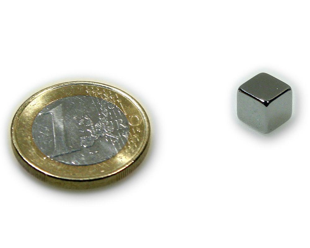 Würfelmagnet 7,0 x 7,0 x 7,0 mm Neodym N45 vernickelt - hält 3,2 kg