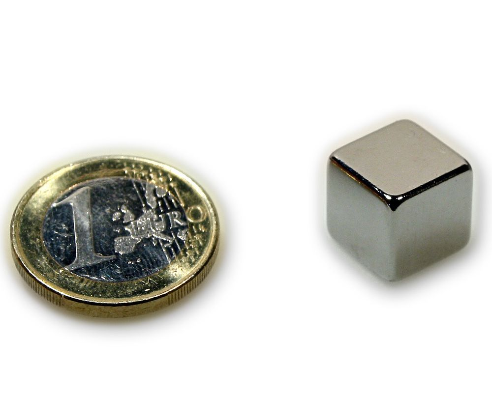 Würfelmagnet 12,0 x 12,0 x 12,0 mm Neodym N45 vernickelt - hält 10,5 kg