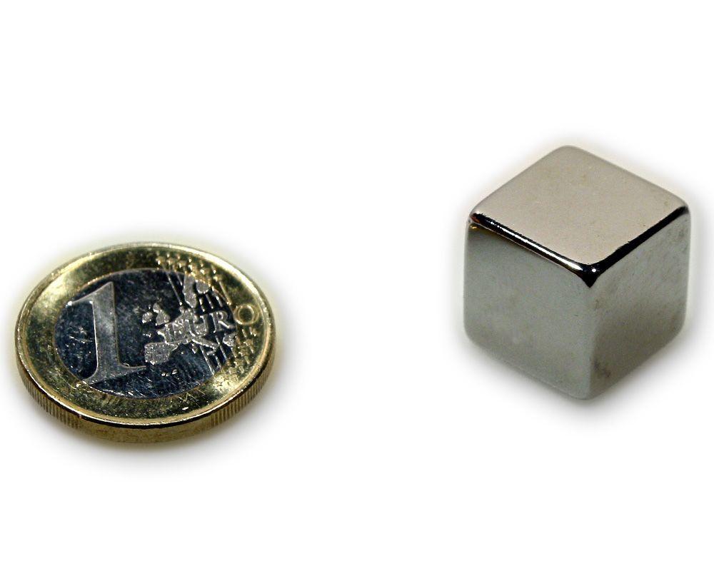 Würfelmagnet 15,0 x 15,0 x 15,0 mm Neodym N45 vernickelt - hält 17,2 kg