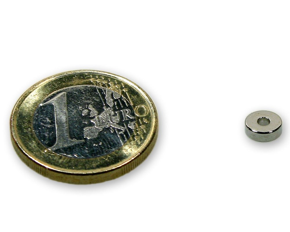 Ringmagnet Ø 6,0 x 2,0 x 2,0 mm Neodym N45 vernickelt - hält 650 g