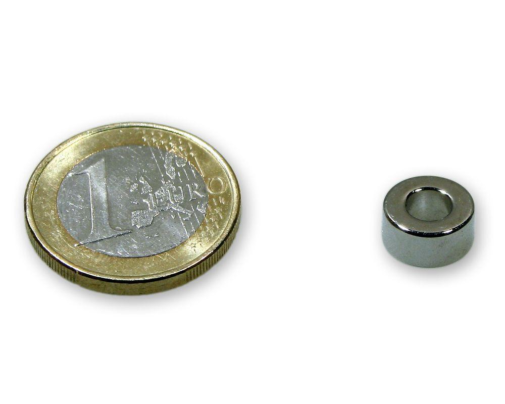 Ringmagnet Ø 10,0 x 5,0 x 5,0 mm Neodym N45 vernickelt - diametral