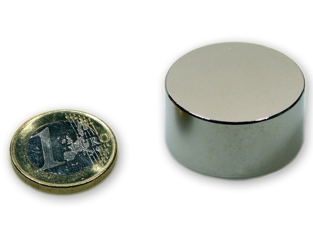 Scheibenmagnet Ø 30,0 x 15,0 mm Neodym N45 vernickelt - hält 30,0 kg