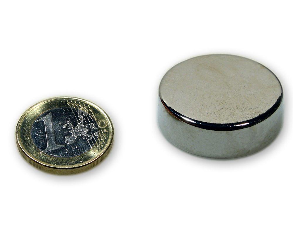 Scheibenmagnet Ø 30,0 x 10,0 mm Neodym N45 vernickelt - hält 22,0 kg