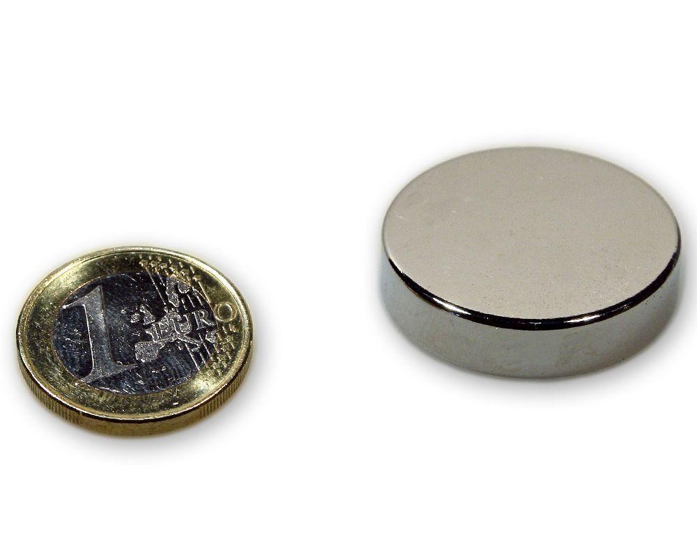 Scheibenmagnet Ø 30,0 x 7,0 mm Neodym N45 vernickelt - hält 15,0 kg